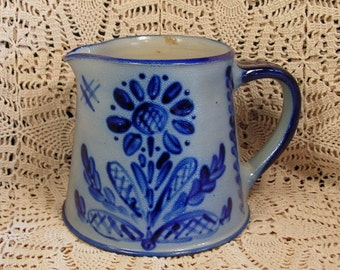 Vintage Cobalt Blue and Gray Stoneware Large Pitcher Artist Signed Dated