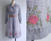 Vintage 70's Red Rose Black & White Houndstooth Print Shirt Dress S or M
