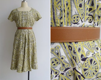Vintage 40's Acid Yellow Tiki Print Square Neck Swing Dress L