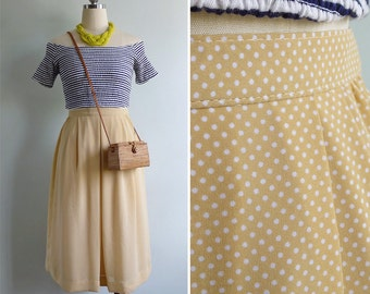 Vintage 80's Sunshine Yellow & White Polka Dot Skirt S