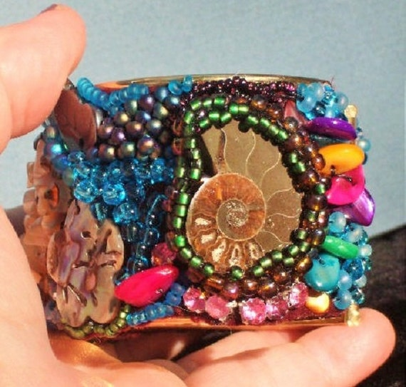 SALE Creation Bracelet Beaded Cuff with Ammonites, Fire, Wind & Rain.  Bead Embroidery of About 1000 Shimmering Beads. ONLY 69.90