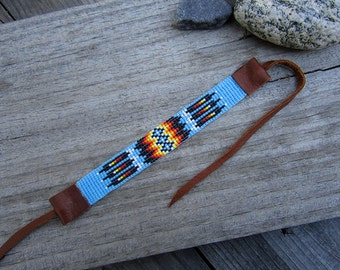 Turquoise Seed Beaded Bracelet, Loom Beaded Bracelet with Deertan Leather Ties