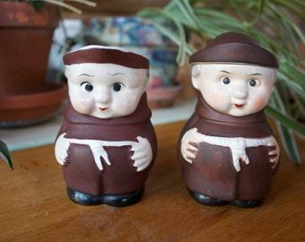 Monk Set Sugar and Creamer Porcelain Made in Japan Vintage