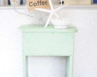 Primitive Reclaimed Wood Stool Rustic Farmhouse Decor Chippy Mint Green Milky Paint Color