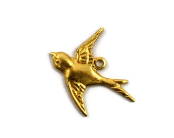 12 Brass Flying Bird Charm - Right Facing - Raw Brass