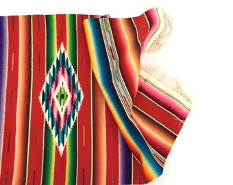 Mexican Serape Saltillo Table Runner / Throw, Tribal Southwest Decor