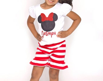 Girls Red and White Stripe Ruffled Knit Shorts, Toddler Girl Baby Infant Shorts, Vacation Birthday Summer Size 12m to 8