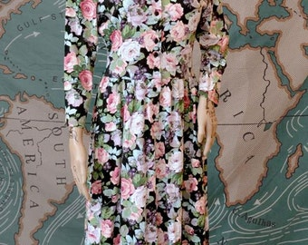 Vintage 90s FLORAL Maxi Length Button Up Summer Dress Made in USA