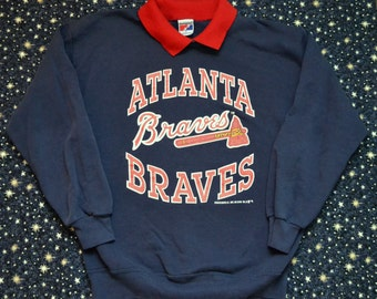 Vintage 1990 90s Atlanta Braves Collared Crewneck Sweatshirt MLB Made in USA