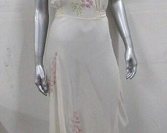Vintage 1930S Italian Silk Chiffon Nightgown Appliqued Lavender Flowers Rare Bias Cut Lingerie