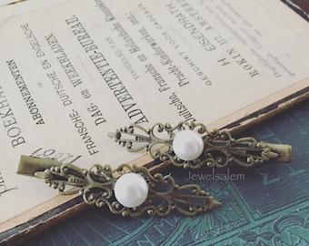 Vintage Style Barrette Pearl Barrette Antique Filigree Barrette Hair Clip White Pearl Ivory Pearl Cream Pearl Hair Clip