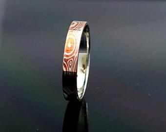 3mm ring Mokume gane ring mokume ring mokume wedding band wood grain ring mokume band mokume ring band womens mokume ring silver ring
