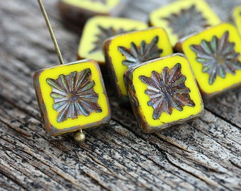 8pc Yellow Square beads, Czech glass beads, picasso finish, table cut, carved squares - 10mm - 8Pc - 2791