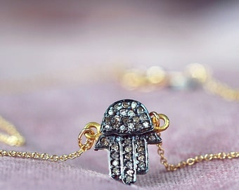 Hamsa Hand Of Fatima Diamond Pave Necklace - Diamond Pave Pendant with Rough Diamond on Gold Chain  - Lucky Charm Necklace