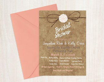 Coral and Ivory Burlap Bridal Shower Invitation - Shower Invites - Shower Invitations - Bridal Invites