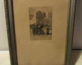 SALE Vintage Antique Signed F. Gremillet Etching - Notre Dame Cathedral Paris Framed Etching 1928