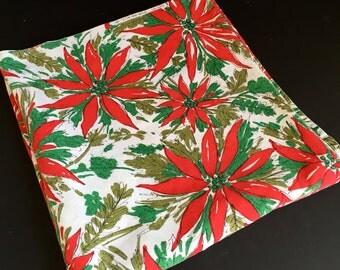 Mid Century Christmas Tablecloth with Poinsettias