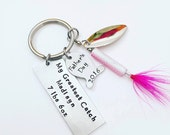 Fathers Day Fishing Lure - Personalized Hand Stamped Key Chain - My Greatest Catch - Dad Gift - Baby Weight - Fish Fishing Dad