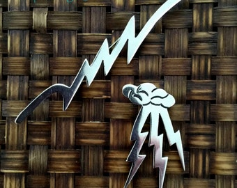 Vintage 1980's Tasco Sterling Silver Jewelry, Lightning Bolt, Mexican 925 Sterling Silver, Set of 2 Silver Lightning Bolt Brooches