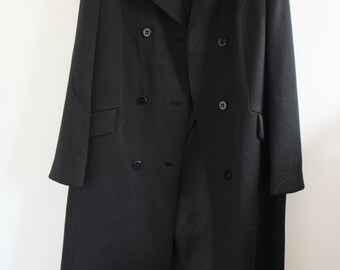 Vintage black wool midi oversized double breasted coat