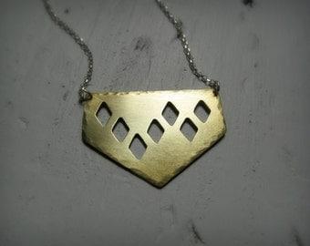 Diamonds Pendant - Geometric Diamond Brass Necklace