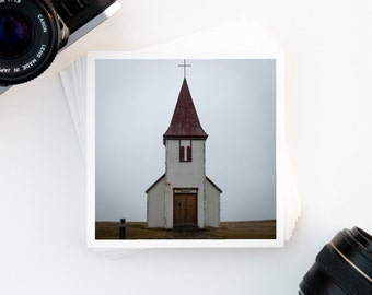 Iceland Wall Art, Travel Photography, Hellnar Icelandic Church, Affordable Wall Art, Home Decor, Travel Inspiration, Square Art Print