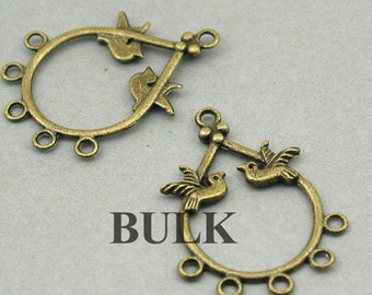 Bird Charms Links BULK order Jewelry Connector Antique Bronze 20pcs zinc alloy pendant beads 26X37mm CM0416B