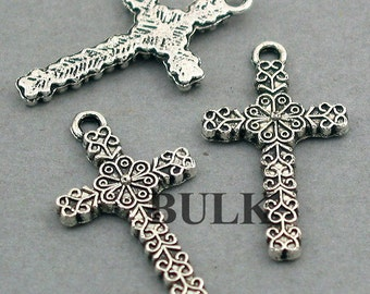 Cross Charms BULK order Antique Silver 40pcs pendant beads 15X27mm CM0254S