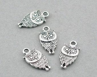 Owl Charms Antique Silver 8pcs pendant beads 9X18mm CM0023S