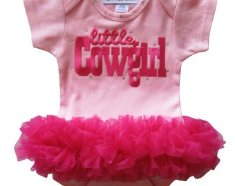 Pink Bodysuit with Hot Pink Tutu Little Cowgirl baby girl clothing, newborn baby, baby clothing, baby gift, rodeo cowgirl, baby shower gift