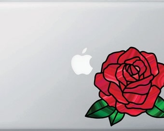 """CLR:MB - Rose Stained Glass - D2 - Vinyl Decal for Macbook 