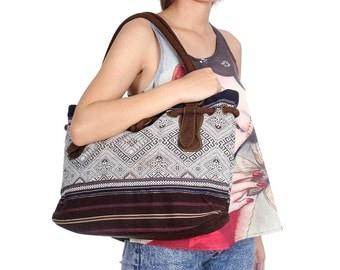Shoulder Bag With Faux Suede Strap Vintage Hmong Fabric Thailand  (BG514W.2)