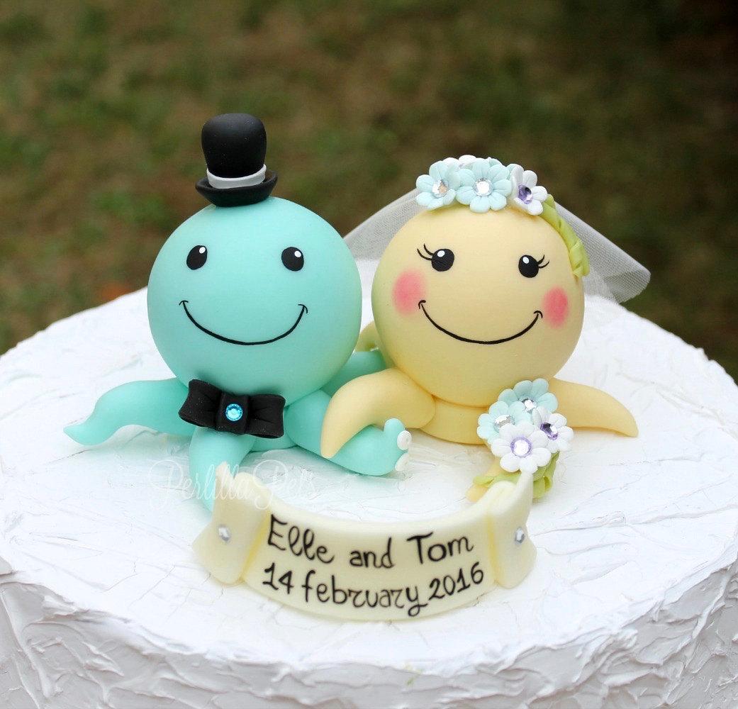 Custom wedding cake topper octopus cake topper personalized