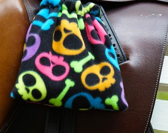 Ready to Ship - Black and Neon Skull and Crossbones Reversible Stirrup Covers