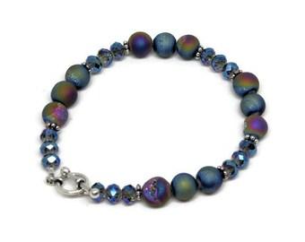 Druzy Agate Rainbow Finish and Crystal Bead Stacking Bracelet, Boho Bracelet, Druzy Jewelry, Druzy Bracelet