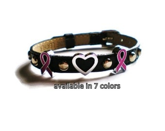 Leather Breast Cancer Awareness Bracelet - Breast Cancer Charm Bracelet - Genuine Black Leather Studded Breast Cancer Bracelet