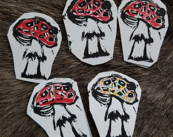 Magic Mushroom linocut stickers