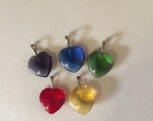 Vintage glass heart charms