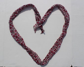Vintage Silk Scarf -heart pattern - long thin bow tie accessory -- gift - pure silk fabric