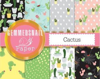 Cactus digital paper, 8 papers featuring cacti, succulents, tropical pineapple and watermelon!