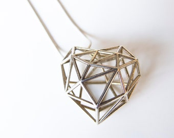 Silver 3D Printed Heart Necklace