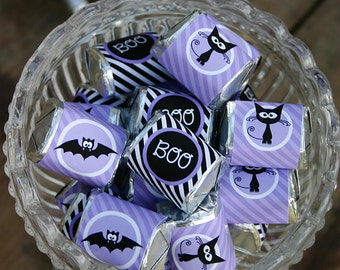 HALLOWEEN Candy Bar Wrappers for Hersheys Bars and Hersheys Nuggets - Spookalicious - Purple - Perfect for Favors - DIY Print