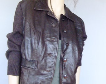 leather cardigan, leather sweater, sweater jacket, mod, 60s vintage sweater, retro sweater