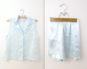 Vintage Oscar de la Renta Sleep Shorts Set - Satin Lingerie in Pastel Blue - Medium