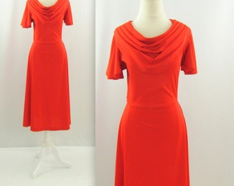 Strawberry Kiss Dress - Vintage 1970s Red A Line Midi Dress in Small by Ronda Roy