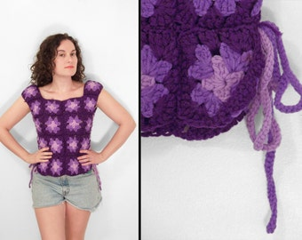 Purple Granny Square Blouse 1970s // Afghan Handmade Lace Up Sides