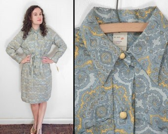 1960s Blue PAISLEY Dress Collar Dan River Shift Deadstock Sky + Mustard Size Medium