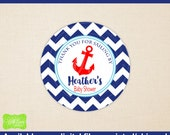 Nautical Favor Stickers - Nautical Gift Stickers - Sailing Thank You Stickers - Sailing Baby Shower Stickers -  Digital & Printed