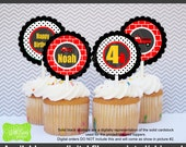 Firetruck Party Circles - Firetruck Cupcake Toppers - Red Firetruck Toppers - Digtal & Printed Available