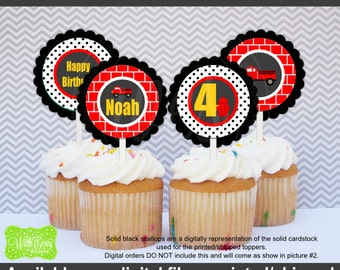 Firetruck Party Circles - Firetruck Cupcake Toppers - Red Firetruck Toppers - Digital and Printed Available
